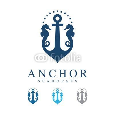 400x400 Anchor Seahorse With Stars Vector Logo Design Template Buy