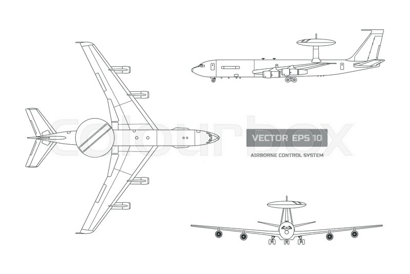 800x534 Outline Blueprint Of Military Aircraft. Top, Front And Side Jet