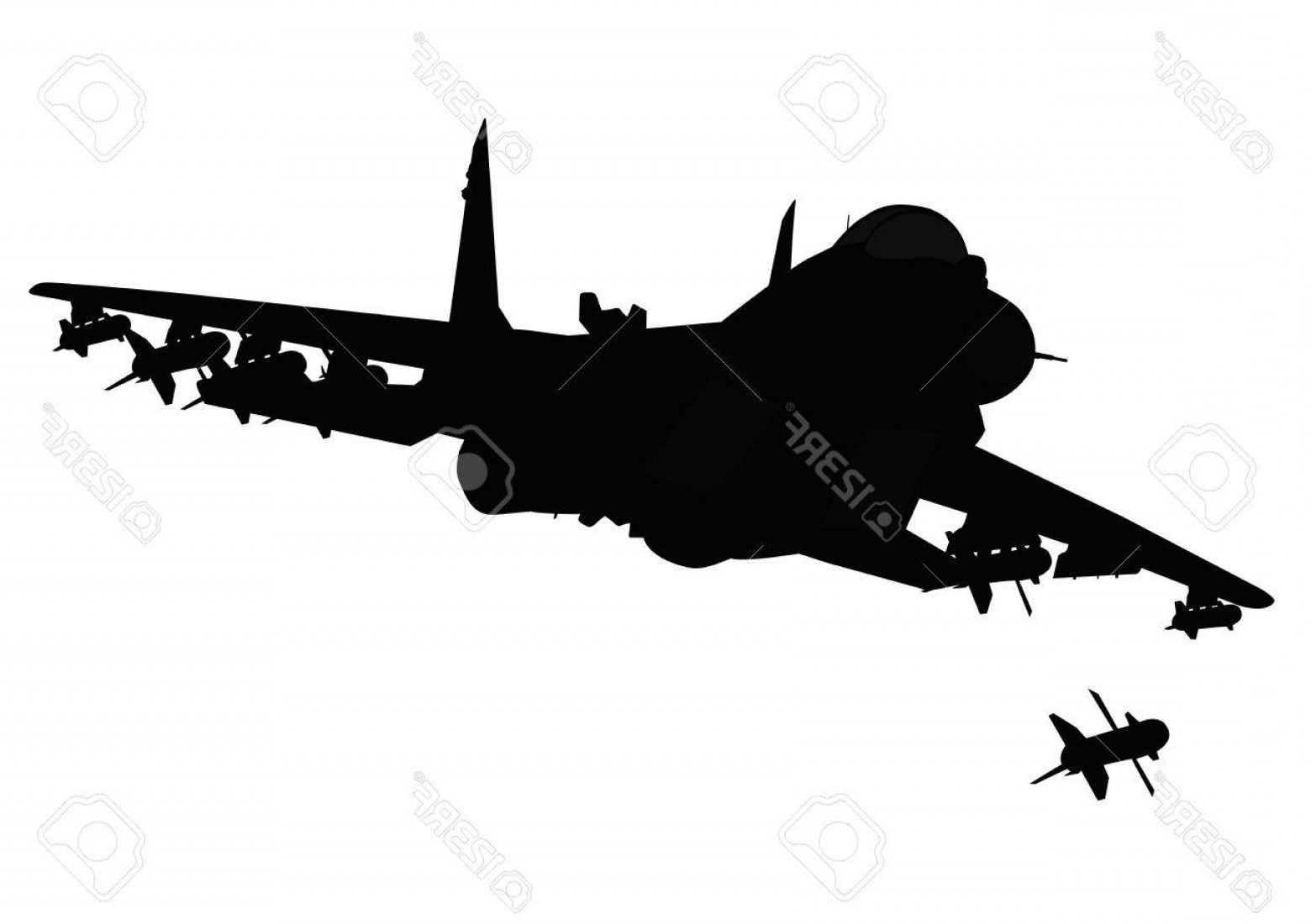 1560x1100 Photoflying Jet Fighter Firing Missile Vector Silhouette Separate