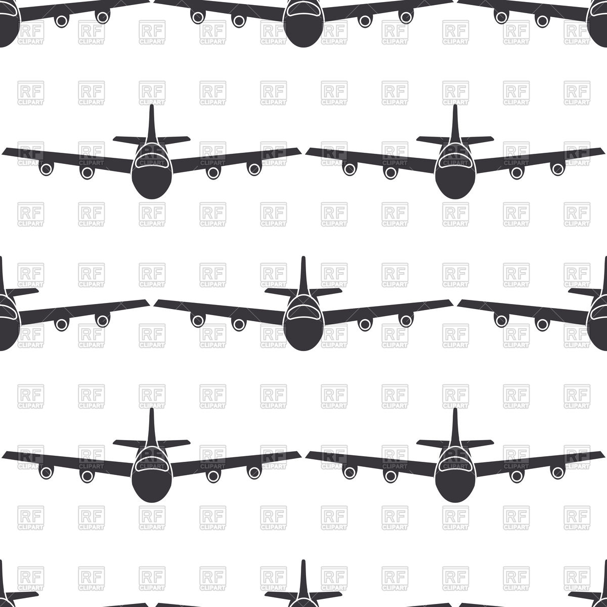 1200x1200 Seamless Pattern With Airplane In Flight Vector Image Vector