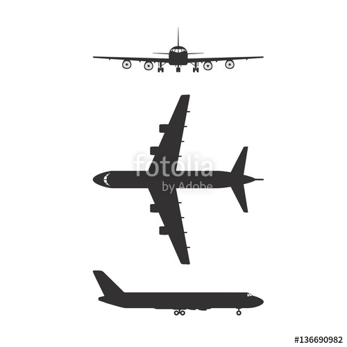 500x500 Vector Of Airplane Icon In Different View Isolated On White
