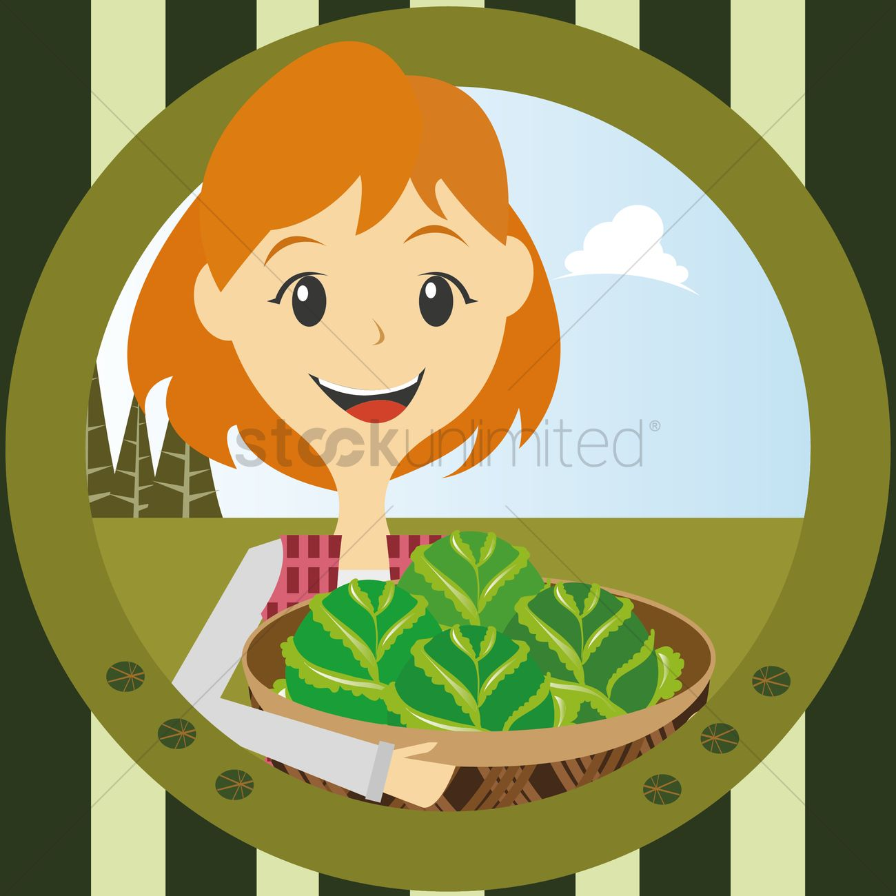 1300x1300 Girl With Basket Full Of Cabbage Vector Image