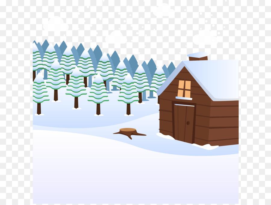 900x680 Cartoon Snow Winter Log Cabin