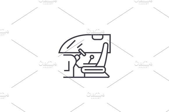 580x387 Driver Cabin Vector Line Icon, Sign, Illustration On Background