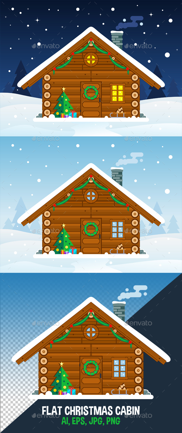 590x1406 Flat Christmas Cabin Vector Illustration By Nelutu Graphicriver