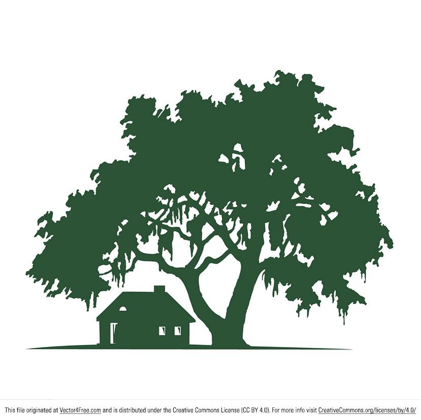 829x828 Free Oak Tree Vector Amp Cabin Silhouette Vector