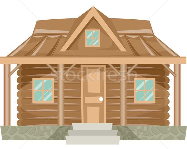600x478 House Log Cabin Vector Illustration Lenm ( 8272780) Stockfresh