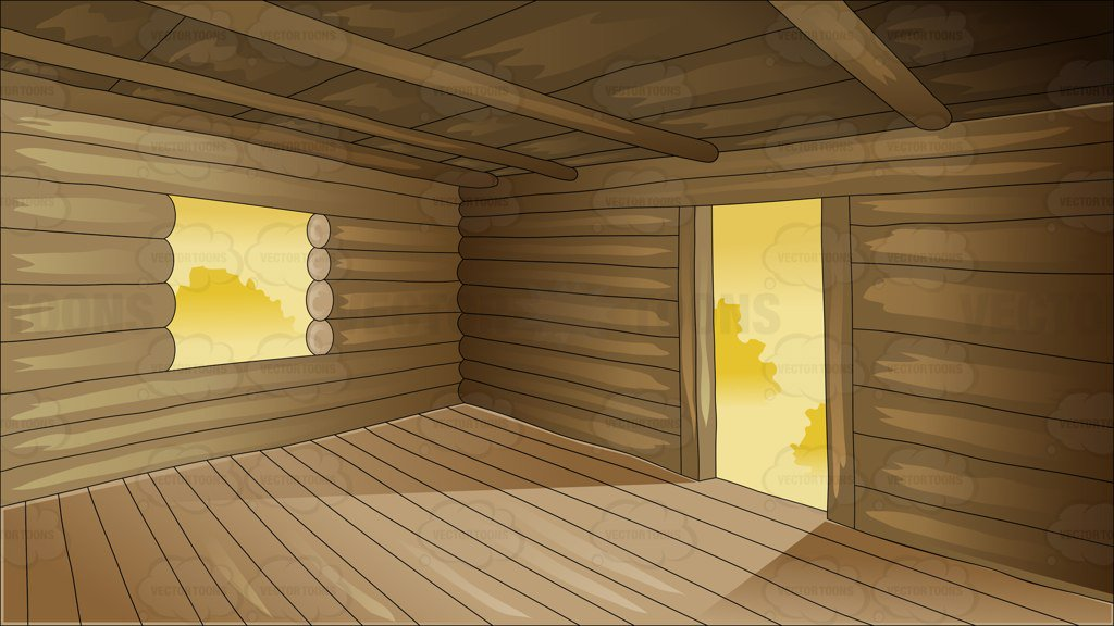 1024x576 Inside An Empty Log Cabin Clipart By Vector Toons