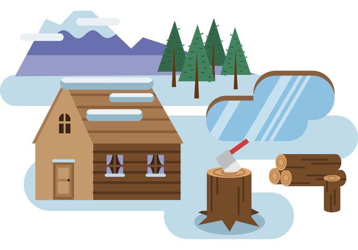 700x490 Log Cabin Snowy Landscape Vector