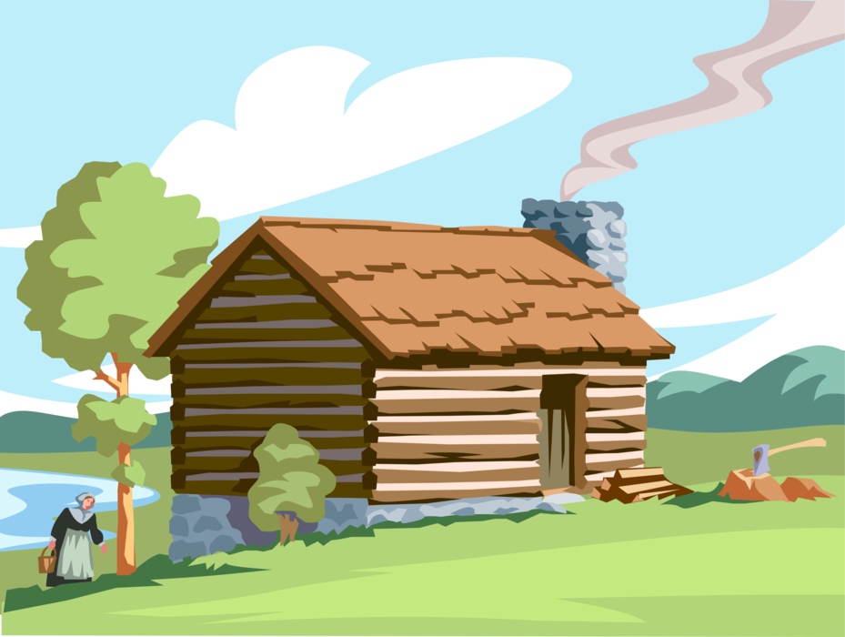 929x700 Pilgrim Pioneer Hewn Wood Log Cabin