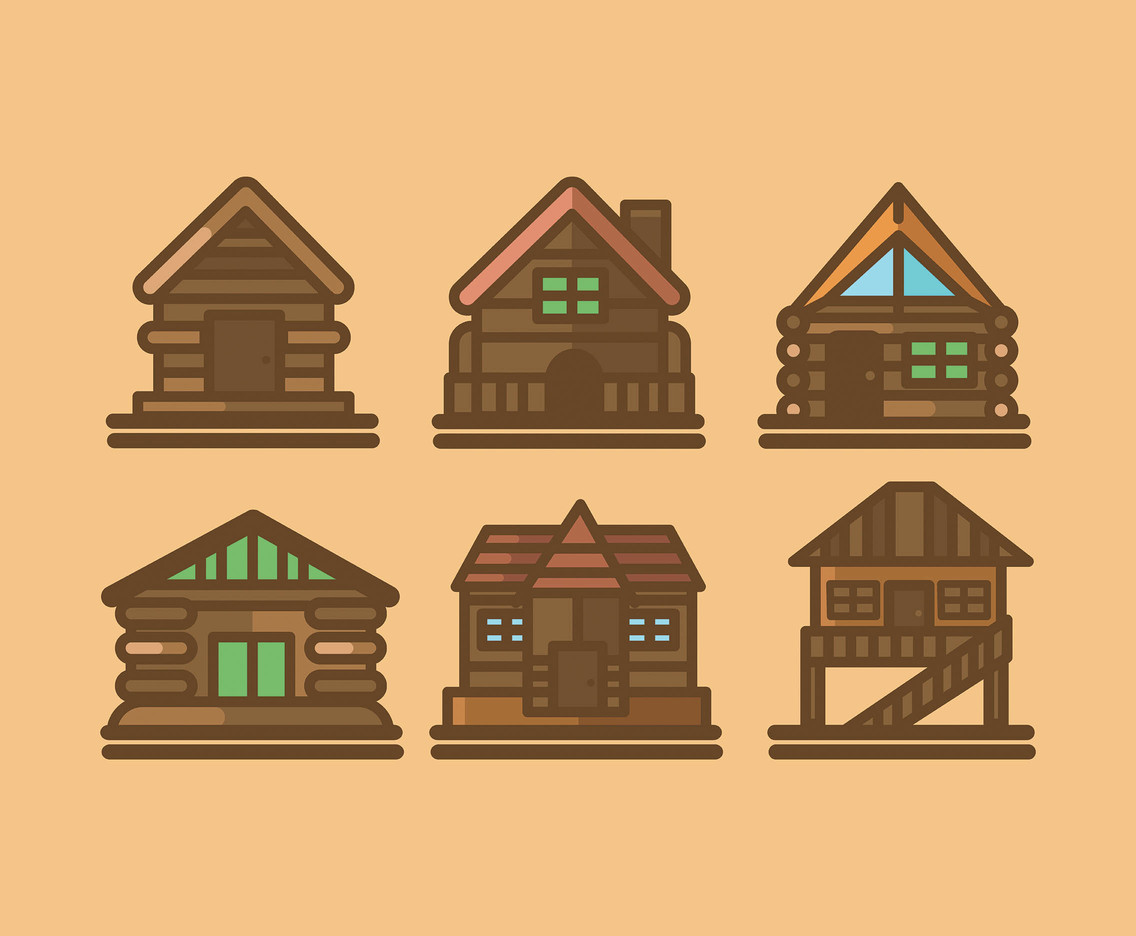 1136x936 Cabin Vector In Thick Line Vector Art Amp Graphics
