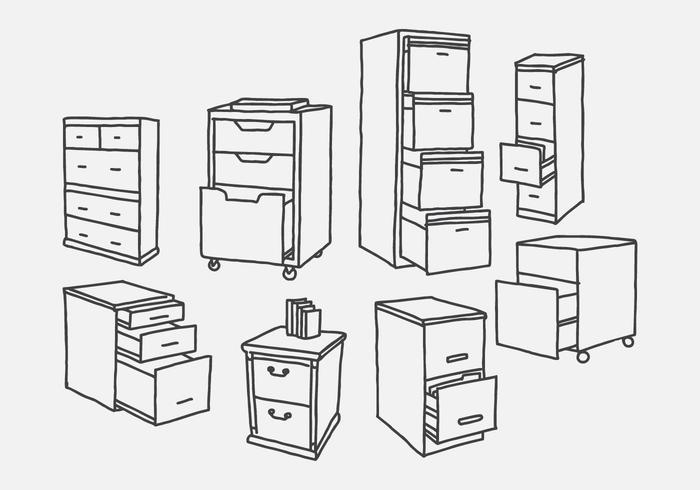 700x490 Hand Drawn File Cabinet Vectors