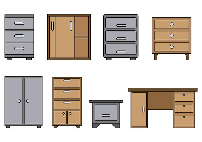 700x490 Set Of File Cabinet Vector