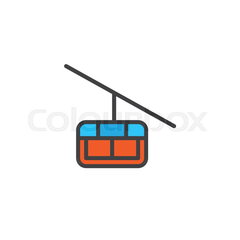 800x800 Cable Car Cabin Filled Outline Icon, Line Vector Sign, Linear