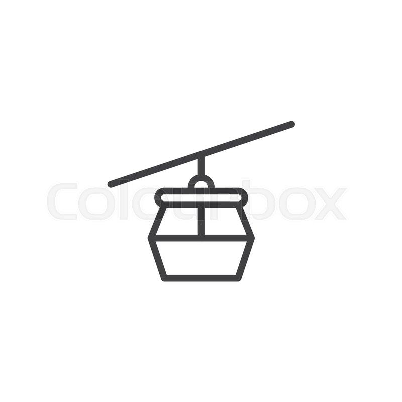 800x800 Cable Car Outline Icon. Linear Style Sign For Mobile Concept And
