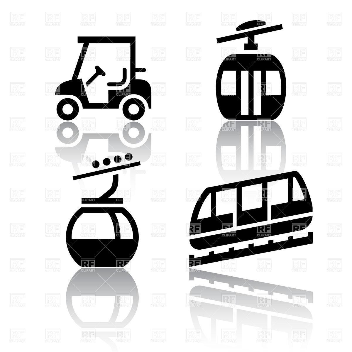 1200x1200 Funicular (Cable Railway) And Golf Cart Vector Image Vector