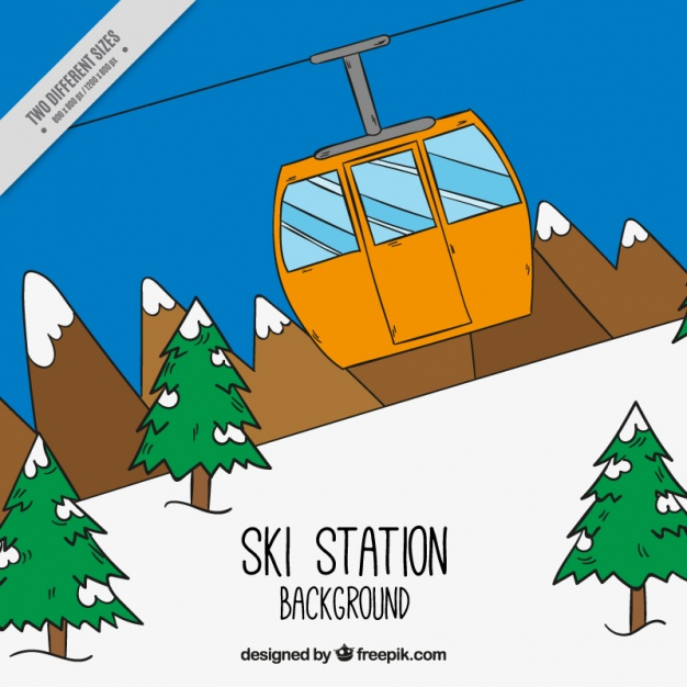 626x626 Hand Drawn Ski Station With Cable Car Vector Free Download
