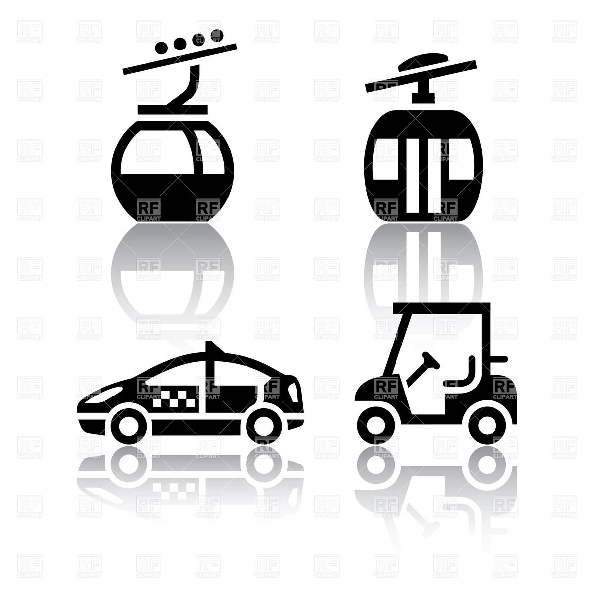 1200x1200 Overhead Cable Car, Taxi And Golf Cart Icons Vector Image Vector