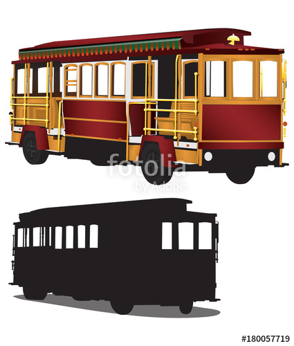425x500 San Francisco Tour Cable Car Trolley Illustration Vector Stock