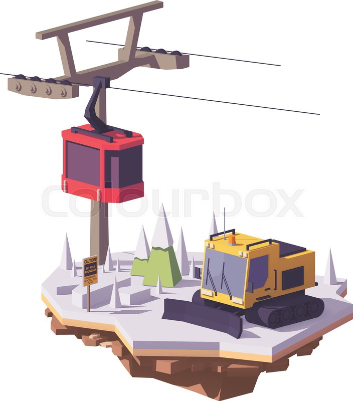 704x800 Vector Low Poly Snowcat Or Snow Groomer And Ski Lift Cable Car