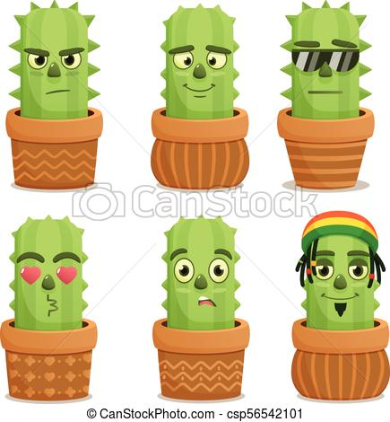 435x470 Cactus Emotion Characters Set. Emoji With Cactus . Vector