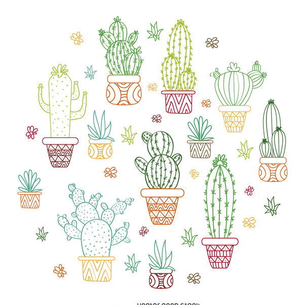 602x602 Cactus Outline Illustration Free Vector Download 372531 Cannypic