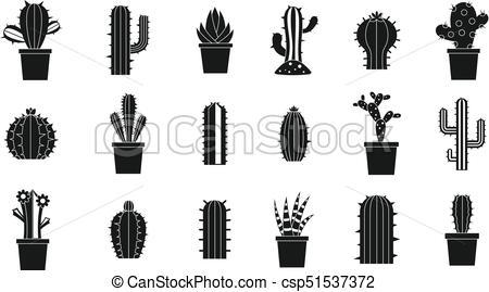 450x269 Cactus Icon Set, Simple Style. Cactus Icon Set. Simple Set Of