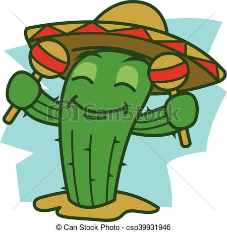 450x460 Dance Cactus Vector Art Illustration.