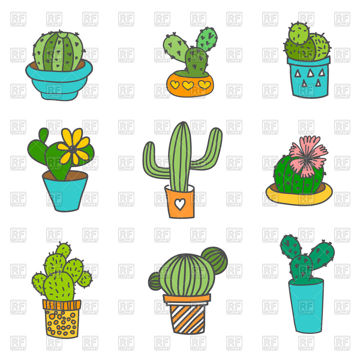 1200x1200 Hand Drawn Cactus Icons In Flower Pot Vector Image Vector