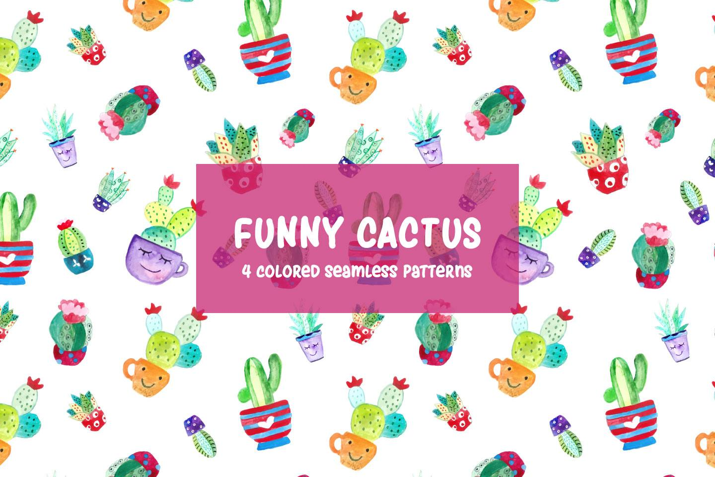 1440x960 Watercolor Funny Cactus Vector Free Pattern