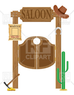 311x400 Wooden Doors In Western Saloon With Cowboy Hat, Wanted