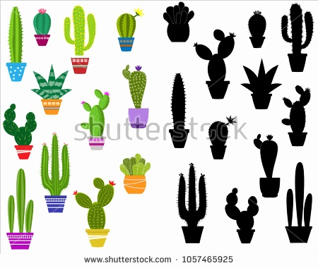 450x380 Cactus Vector Free Download Elegant Potted Plants Silhouettes Set
