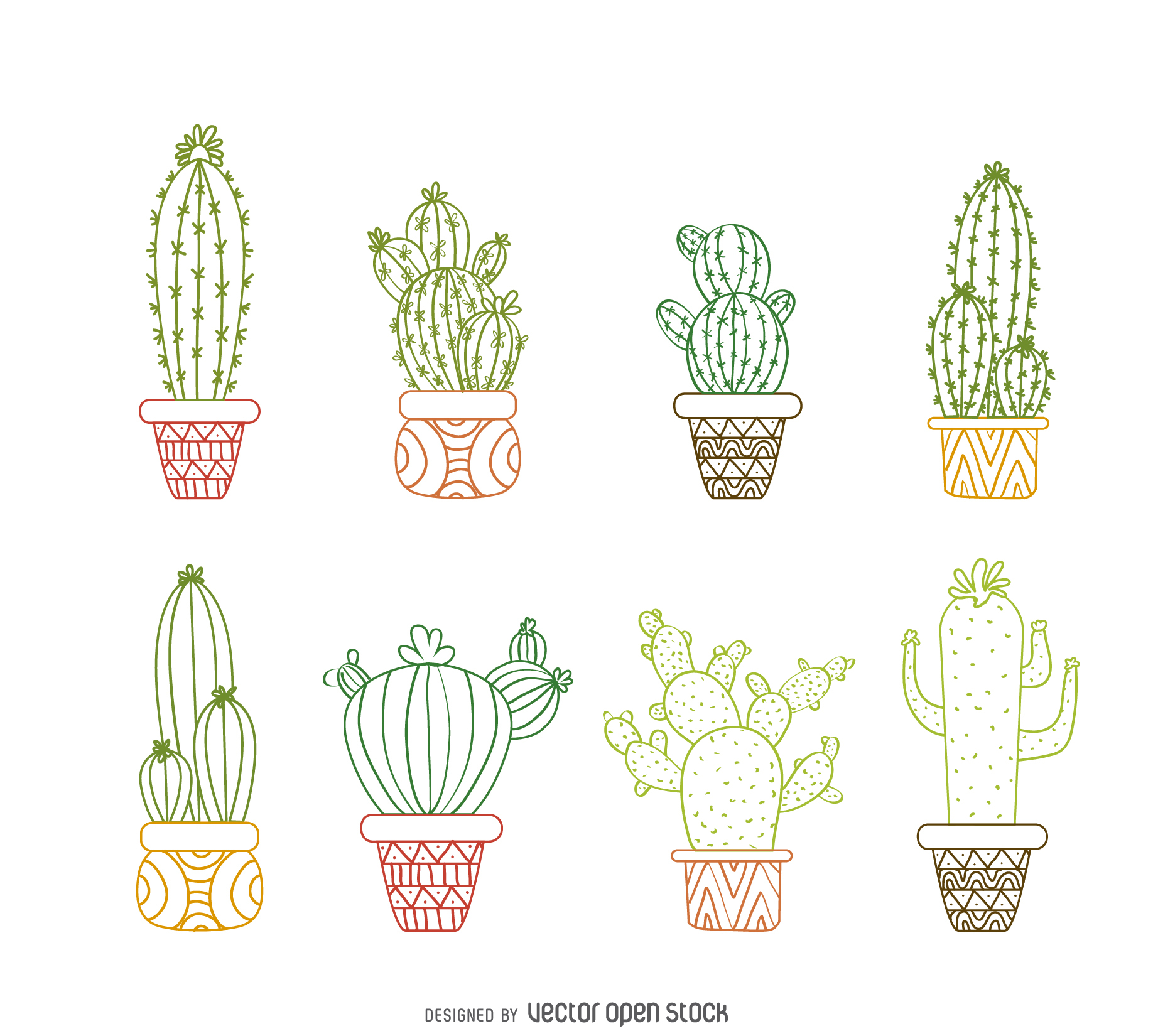 1836x1650 Cactus Outline Drawings Set