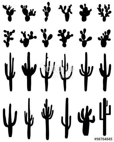400x500 Black Silhouettes Of Different Cactus, Vector Stock Image And