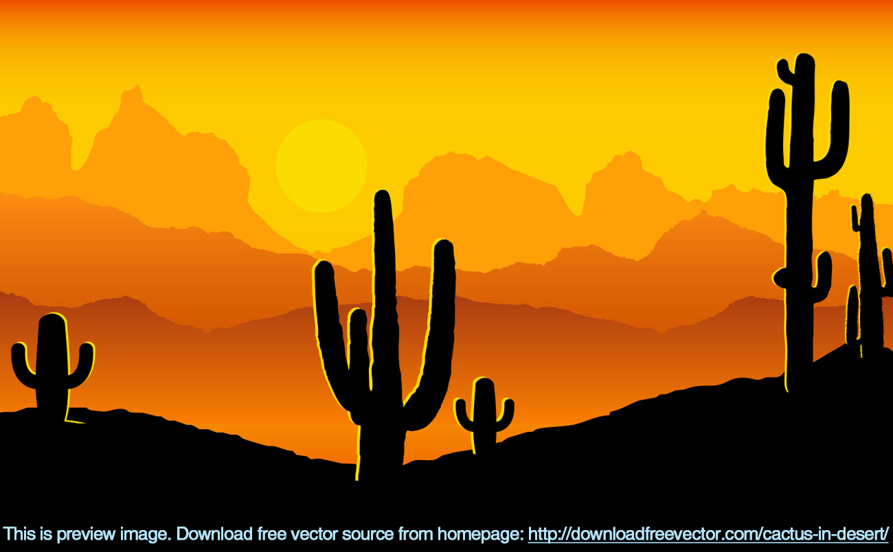 1300x804 Cactus In Desert Free Vector Free Vectors Ui Download