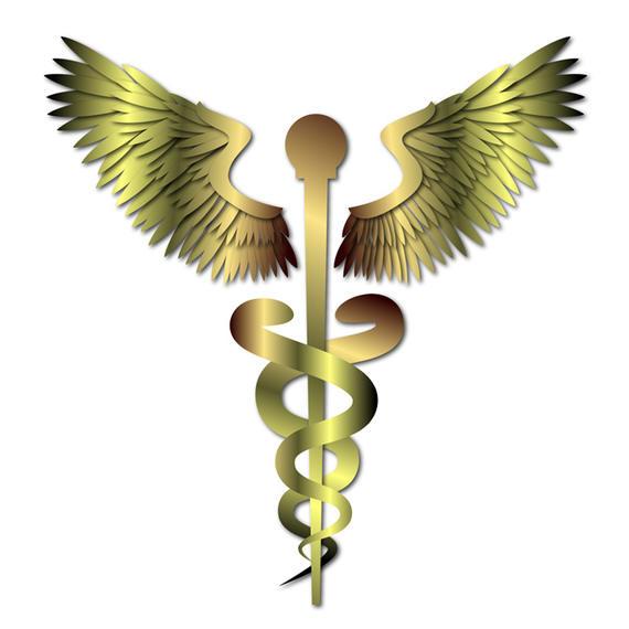 570x570 Gold Medical Caduceus Sign