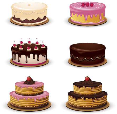 444x433 Cute Round Cakes Vector Free Download