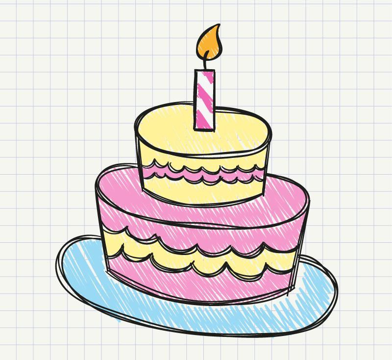 800x734 Painted Birthday Cake Vector [Ai]