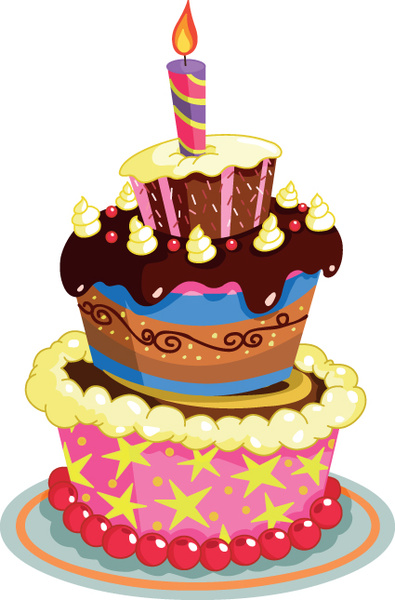395x600 Set Of Birthday Cake Vector Free Vector In Encapsulated Postscript