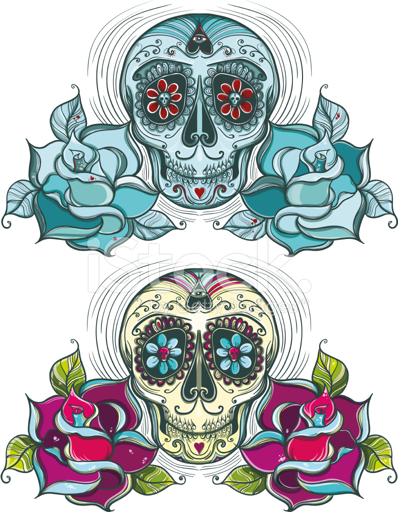 796x1024 Calavera De Vector Con Colorido Y Unicolor Stock Vector
