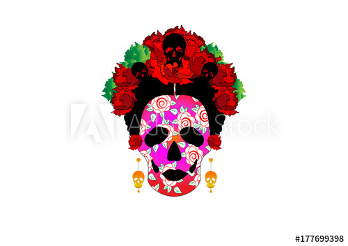 500x354 Day Of The Dead, Portrait Of Mexican Catrina With Skulls And Red