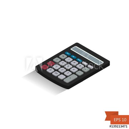 500x500 Calculator. Isometric Icon. Vector Illustration.isometric 3d