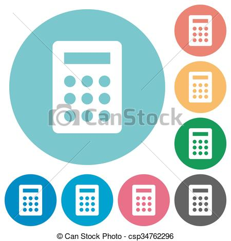 450x470 Flat Calculator Icons. Flat Calculator Icon Set On Round Color