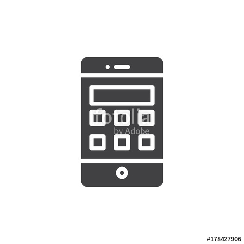 500x500 Smartphone With Calculator Icon Vector, Filled Flat Sign, Solid