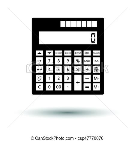 450x470 Statistical Calculator Icon. White Background With Shadow Design