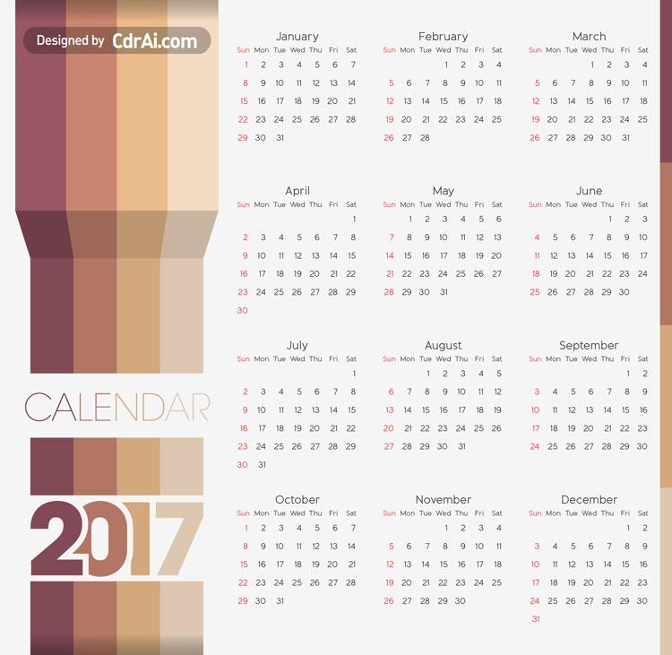 Calendar 2017 Vector