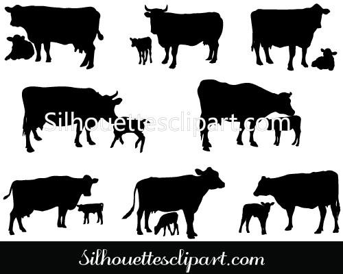 500x400 Cow And Calf Vector Silhouette Download Cow Silhouette