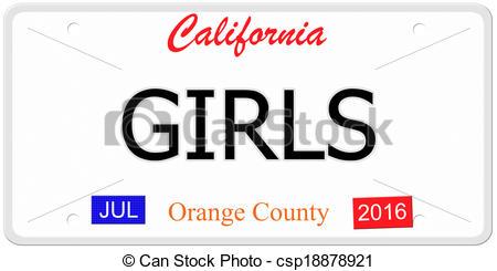 450x245 California Girls License Plate. An Imitation California... Clip