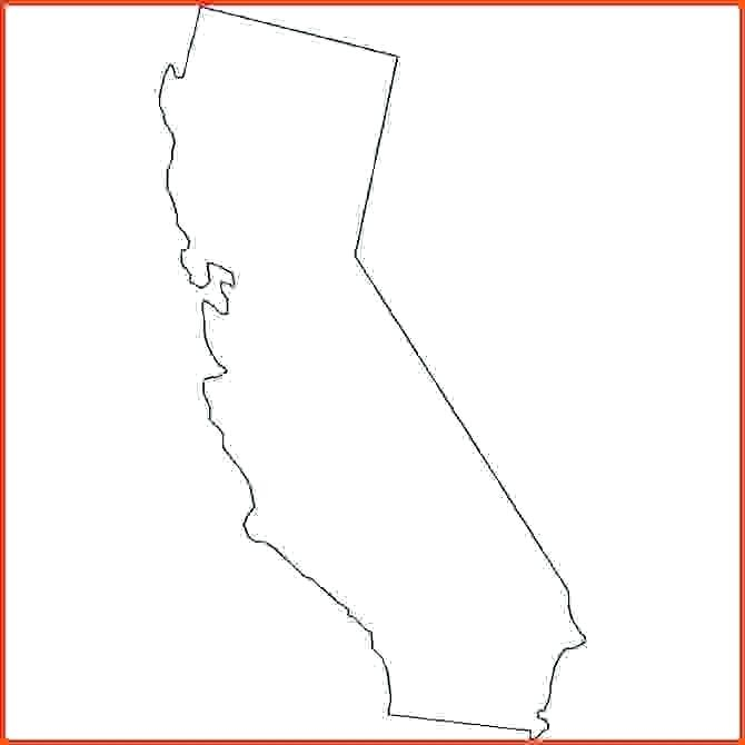 670x670 California Map Outline Cities Outline Of Vector Map California