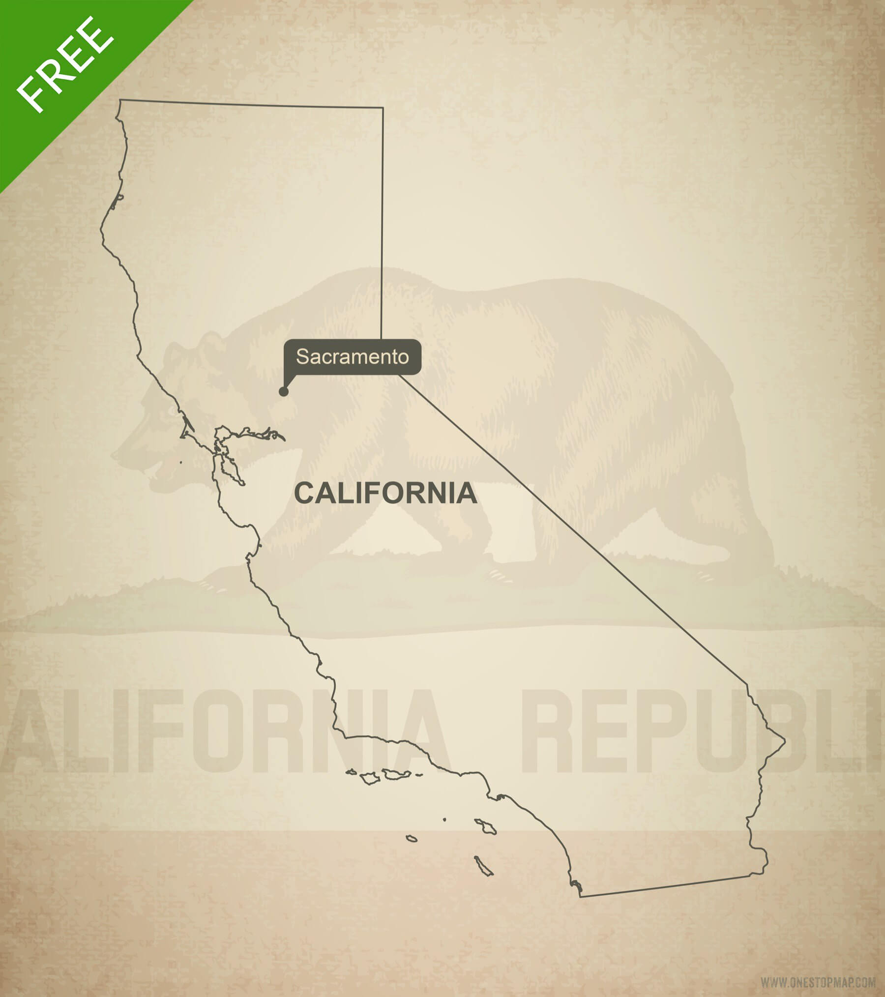 1800x2028 Free Vector Map Of California Outline One Stop Map